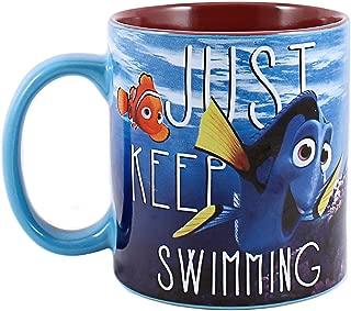 Silver Buffalo NM0132 Disney Pixar Finding Dory Just Keep Swimming Under Water Ceramic Mug, 14 oz, Multicolor