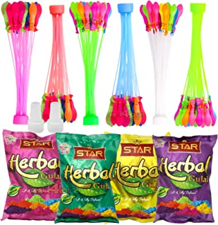 zest 4 toyz Holi Gulal & Water Balloons, 222 Pcs, Pack Of 4 Holi Color, Assorted Colour