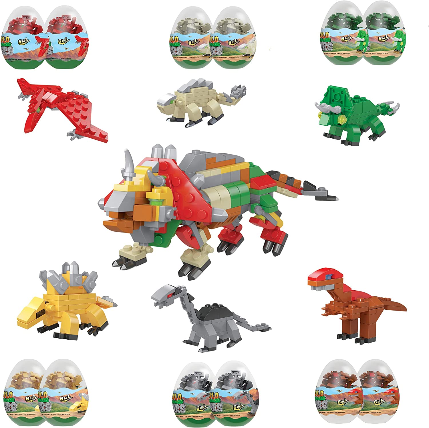 12 Dinosaur 67% OFF Tulsa Mall of fixed price Eggs with Dinosaurs Toys - Blocks Building