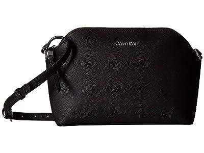 Calvin Klein Mercy Saffiiano Crossbody (Black/Silver) Handbags