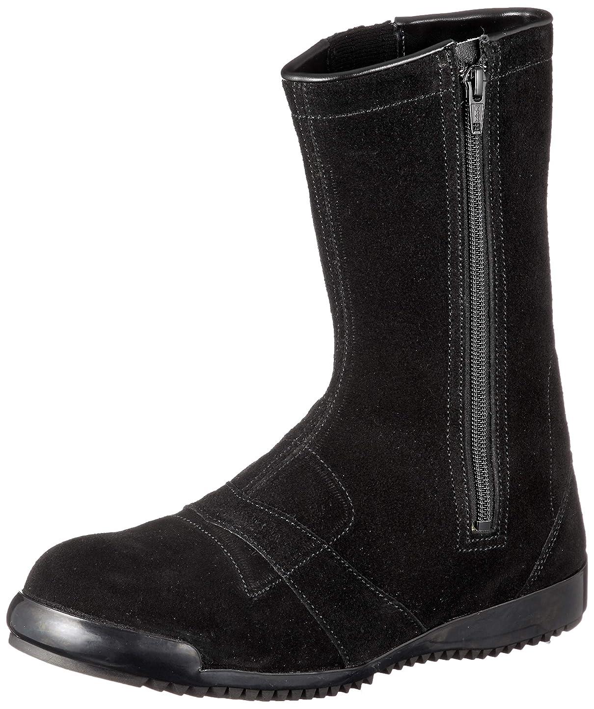 メロン連続したアンプ[シモン] 作業靴 安全靴半長靴 高所 通気性 JIS規格 チャック付半長靴安全靴 3055黒床