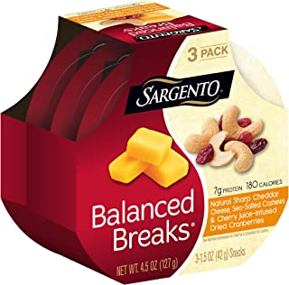Sargento Balanced Breaks with Natural Sharp Cheddar Cheese with Cashews and Cherry Juice- Infused Dried Cranberries, 1.5 oz, 3-Pack