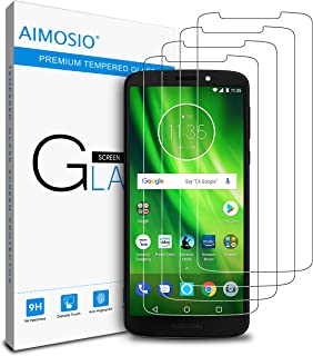 AIMOSIO [4-Pack] for Moto G6 Play Screen Protector,Tempered Glass Film Anti-Scratch Case Friendly 2.5 D Curved Edge High Definition 99% Touch Accurate