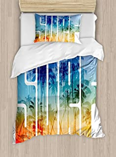 Twin XL Extra Long Bedding Set, Surf Duvet Cover Set, Summer Surf Retro Letters That Reflect the Seacoast with Palm Tree Extreme Sports Art, Include 1 Flat Sheet 1 Duvet Cover and 2 Pillow Cases