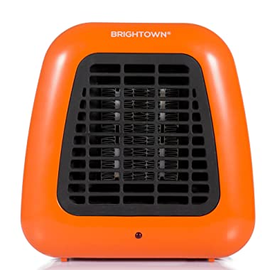 Brightown Mini Desk Heater, 400W Low Wattage Personal Ceramic Heater with Tip-Over Protection for Office Table Indoors, Compact, Orange