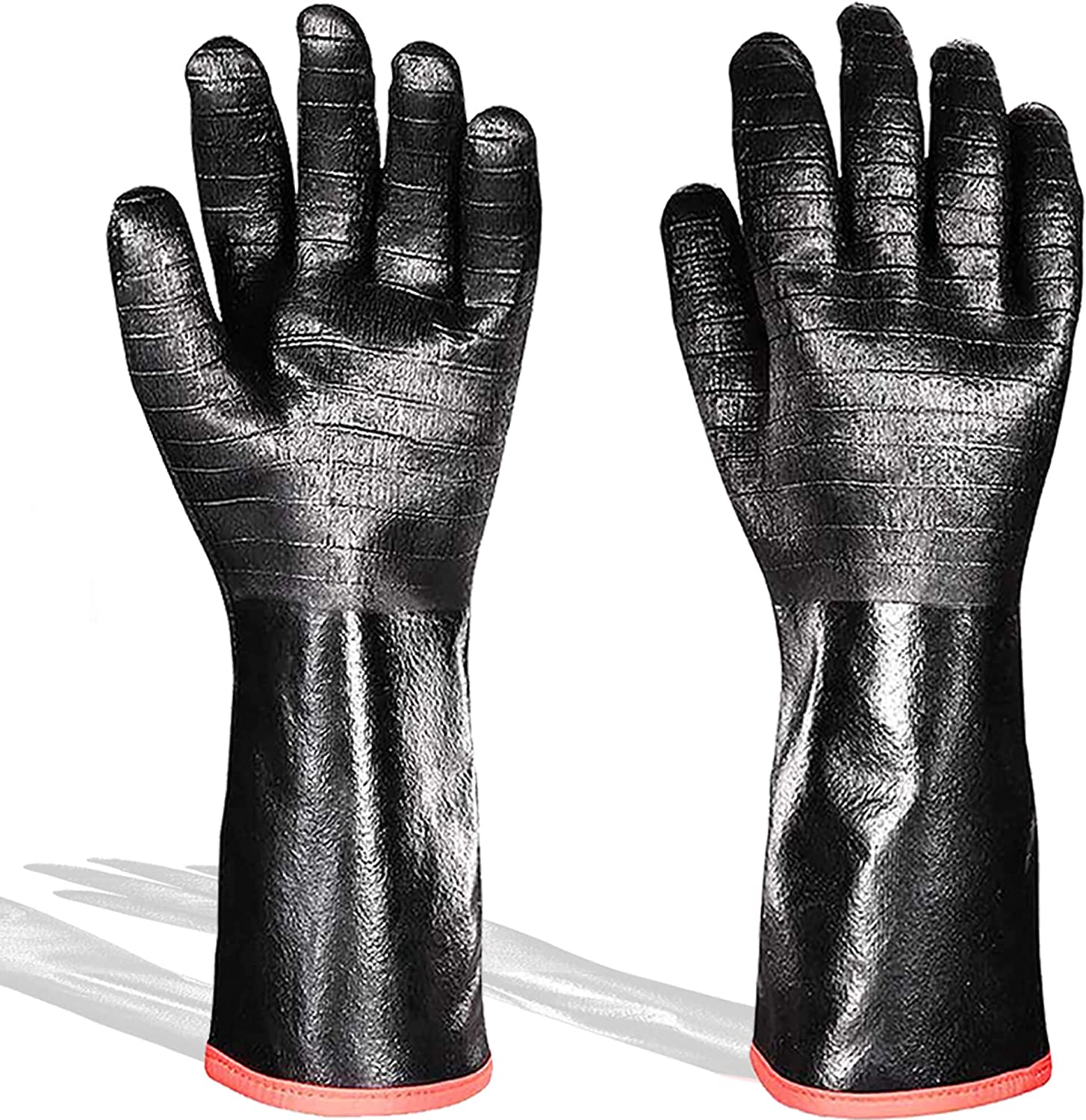 BBQ Gloves 14 Inches Cooking Barbecue Gloves, 932℉, Waterproof, Fireproof, Heat Resistant-Smoker, Oven Mitts, Oil Resistant Grill Gloves for Heat Food Right on Fryer, Welding, Baking Neoprene Coating