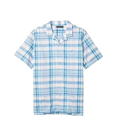 Nautica Big & Tall Casual Plaid Woven Camp Shirt (Blue) Men