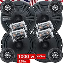 2 Pairs of Gravity 600C 6.5-Inch 2-Way Car Audio Component Speakers System 6-1/2 Inches (4 Bass, 4 Tweeters, 4 Crossovers)