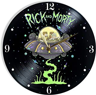 Rick and Morty Painted Vinyl Clock - Rick and Morty Colored Wall Clock - Unique Gifts for Fans Rick and Morty - The Best Home Decor
