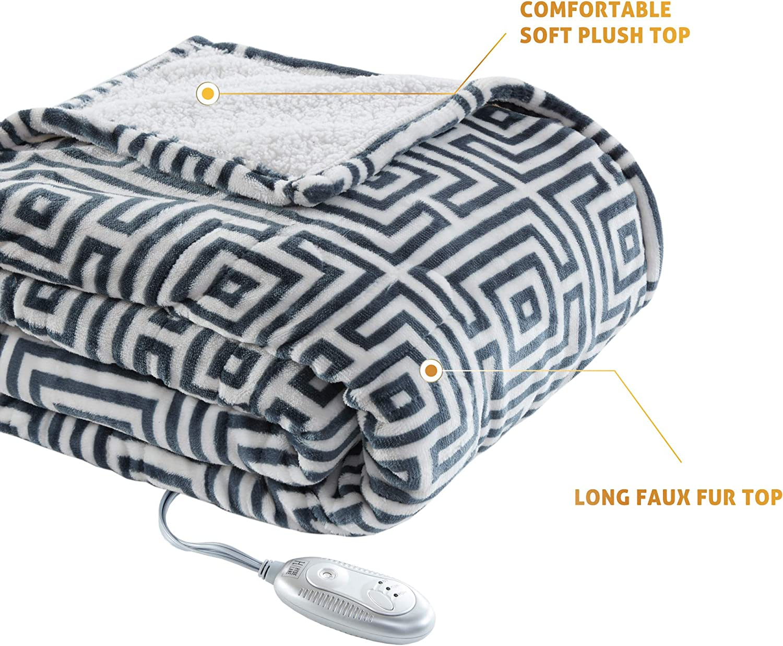 Extra Cozy /& Soft Premium Wild Fox 60x70 Oversized Plush Heating Blanket 3 Heat Settings Hyde Lane Sherpa Electric Throw Blanket Machine Washable Auto-Shutoff