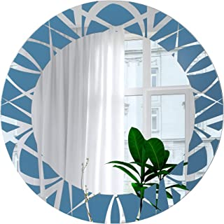 SDG Round Frameless Blue Color Etched Mirror - 18 inch x 18 inch