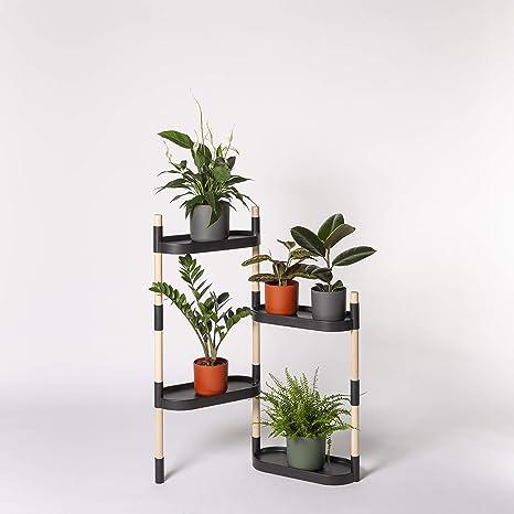 Citysens - Estantería para Plantas, Negro, 4 bandejas