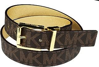 Women's Reversible MK Logo Leather Belt, Vanilla