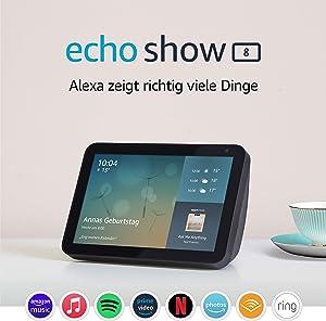 Echo Show 8 (1. Gen, 2019) – Smart Display mit Alexa – Durch Alexa in Verbindung bleiben – Anthrazit