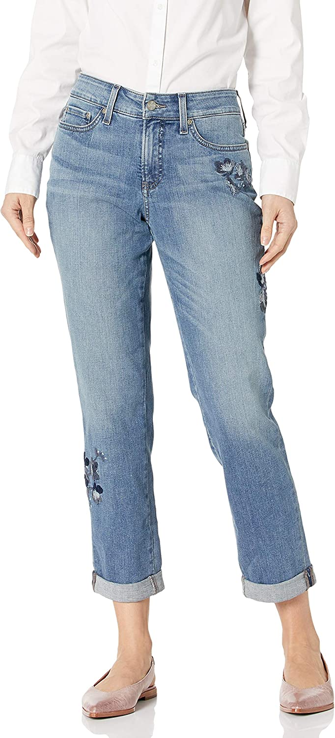 NYDJ Women's Boyfriend with Floral Embroidery