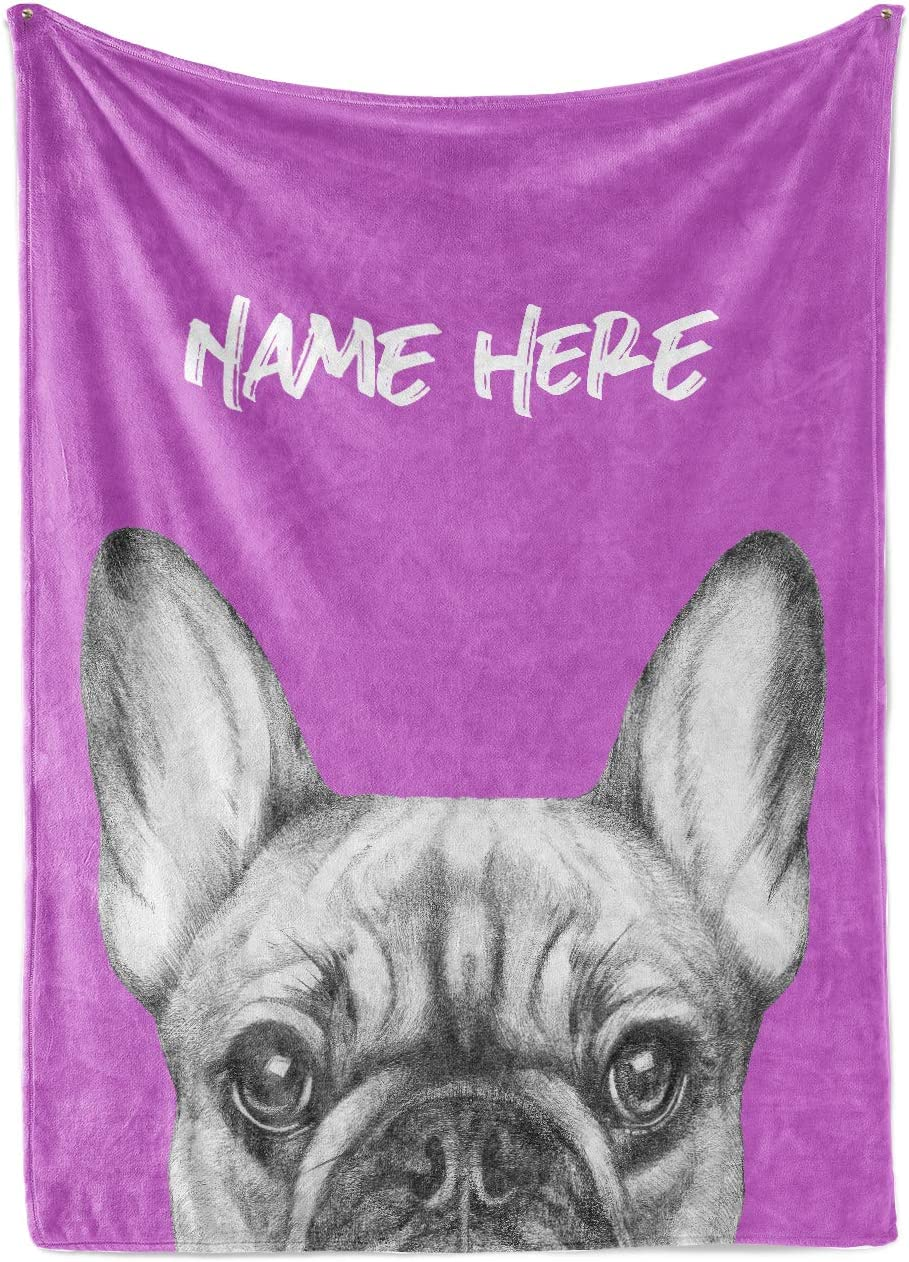 FRENCH BULLDOG Blizzard Fleece Handmade Crochet Puppy Blanket for Dog Bed Gift