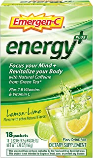 Emergen-C Energy+, With B Vitamins, Vitamin C And Natural Caffeine From Green Tea (18 Count, Lemon Lime Flavor) Dietary Su...