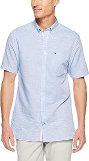 TOMMY HILFIGER Men's Engineered Cotton Linen Short Sleeve Shirt