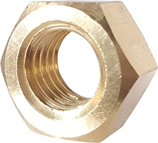 7/16-20 Full Finished Hex Nuts, Solid Brass, Grade 360, Plain Finish, Quantity 10