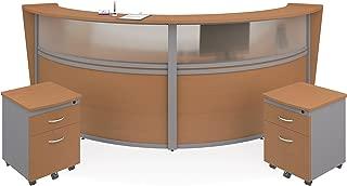 OFM Marque Series Plexi Double-Unit Curved Reception Station - Office Furniture Receptionist/Secretary Desk with Two Maple Pedestals (PKG-55312-MPL)
