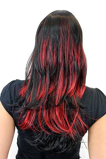 Mit strähnen haare schwarze roten Schwarze Haare