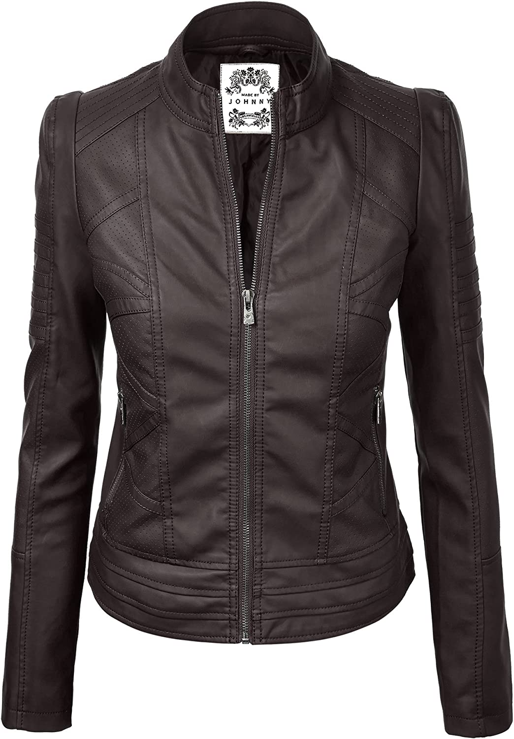 Made by Johnny WJC746 Womens Vegan Leather Motorcycle Jacket S Coffee