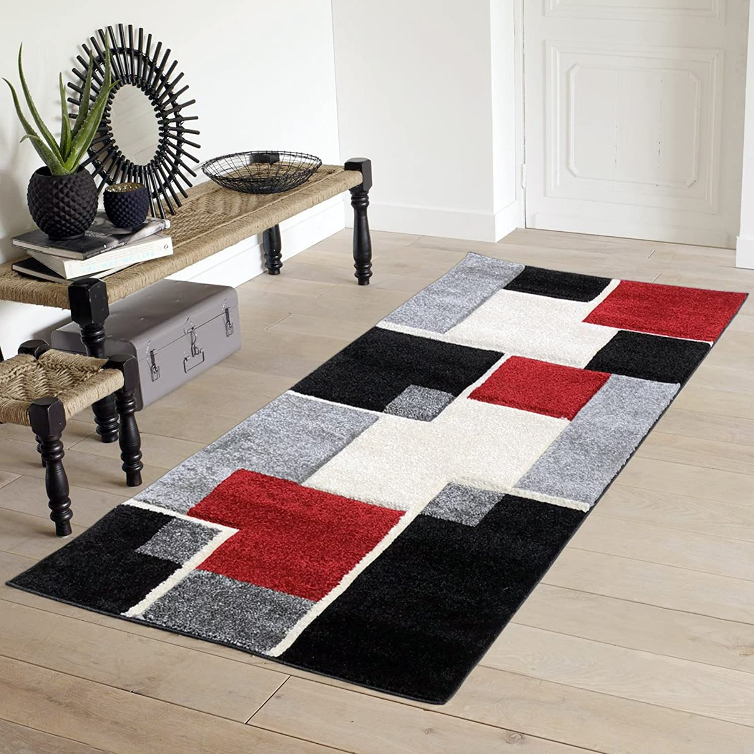 Easy Clean Stain Fade Resistant for Living Room Bedroom Kitchen Area Rug Renzo Collection, Modern Geometric Space Area Rug - Artistic Mediterranean Area Rug (2x5, Red)