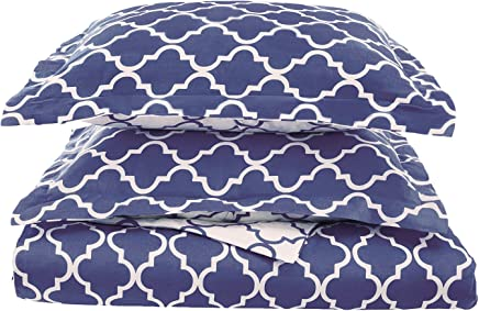Superior 100% Cotton Trellis Geometric Bedding,  2 Piece Reversible Duvet Cover Set,  Soft and Breathable Cotton Bed Set,  300 Thread Count with Hidden Button Closure - Twin,  Navy Blue
