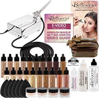 Complete Professional Belloccio Airbrush Cosmetic Makeup System with a MASTER SET of All 17 Foundation Shades plus Blush, Shimmer and Bronzer All in 1/2 oz bottles
