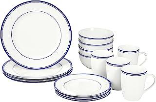 AmazonBasics 16-Piece Cafe Stripe Kitchen Dinnerware Set, Plates, Bowls, Mugs, Service for 4, Blue