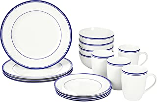 AmazonBasics 16-Piece Cafe Stripe Kitchen Dinnerware Set, Plates, Bowls, Mugs, Service for 4, Blue
