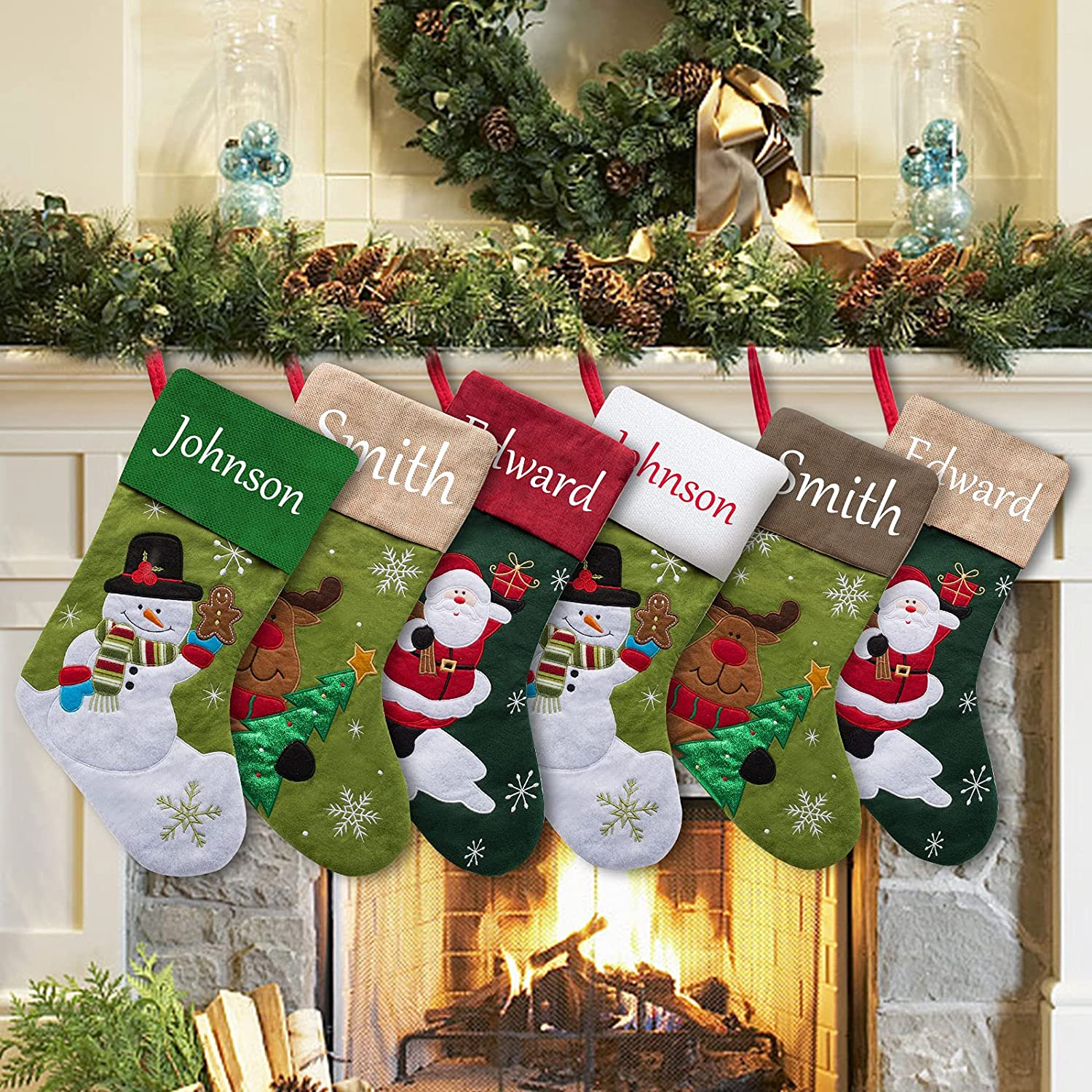 Quality inspection YanNanKe Personalized Christmas Stockings National products Set of 6 Chris Custom