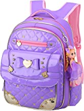 Backpack for Girls,Gazigo Waterproof Girls Bookbag with bows Back to School Gifts (Purple, Small)