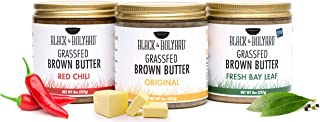 Black & Bolyard Brown Butter (Original, Fresh Bay Leaf, Red Chili) - Grass-fed Butter Caramelized & Seasoned - Gluten Free Ghee Butter/Clarified Butter Alternative (Pack of 3 x 8 Ounces)