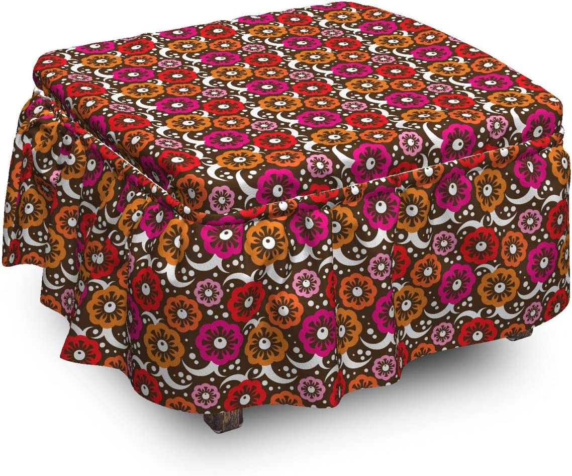 Lunarable Floral Ottoman Cover Time sale Vivid trend rank Flowers Vintage 2 Design