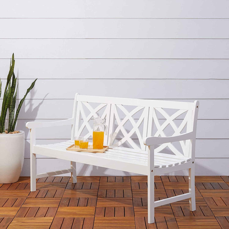 Vifah Bradley Outdoor Patio 5-Foot Wood Garden Bench in White