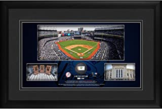 """New York Yankees Framed 10"""" x 18"""" Stadium Panoramic Collage with a Piece of Game-Used Baseball - Limited Edition of 500 - Fanatics Authentic Certified"""