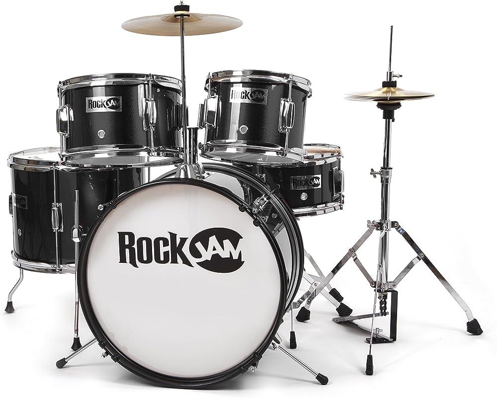 Rockjam set di batteria musucale metallica blu a 5 pezzi RJ105-BK