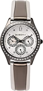 BCB Girls Women's Quartz Watch with Ivory Dial Analogue Display and Multicolour Leather Strap GL2068