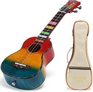 Balnna Soprano Ukulele Maple 21 inch Traditional High-gloss Rainbow Learn to Play,Color String with Soft Case Gig Bag