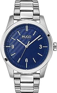 ساعة من الستانلس ستيل بمينا زرقاء للرجال من هوغو بوس - 1530015