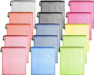 15 Pcs Mesh Drawstring Bag,Mesh Laundry Bag,Mesh Stuff Sack,Mesh Ball Bag,Nylon Mesh Bag for Storage Travel Sports (9 Colors)