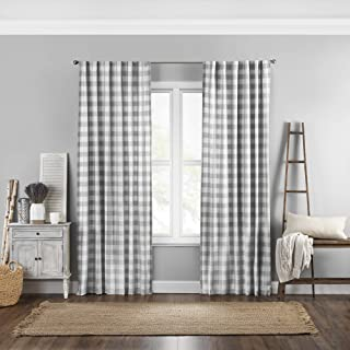 "Elrene Home Fashions Farmhouse Living Buffalo Check Window Curtain Panel, 52"" x 84"" (1, Gray/White"