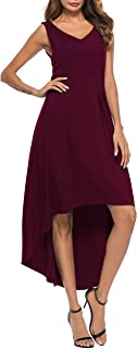 ZJCT Womens V Neck High Low Sleeveless Long Cocktail Party Skater Dress