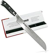 HANZO Serrated Bread Knife Professional - 9 inch Katana Series - 67 ply Japanese VG10 steel - G10 Military Grade Custom Contoured Handle – Outstanding handling and edge retention