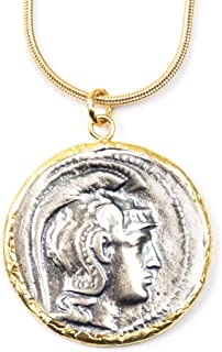 24k Gold Vermeil & Sterling Silver Ancient Athena Coin Replica Charm Necklace 165-50 B.C. - 18 Inches Long Handmade Necklace by Miller Mae Designs