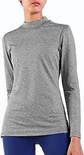 Ogeenier Women's Fleece Long Sleeve Running Shirt Thermal Mock Neck Workout Yoga Tops