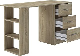 Home Heavenly® Bureau Bureau Bureau Bureau Bureau Deski Style minimaliste Robuste et spacieux avec 3 tiroirs et 3 étagères...