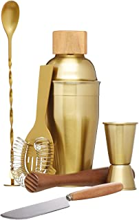 BarCraft Cocktail Making Kit (6-Piece Gift Set) -Brass Finish, 2, 28 x 32 x 28 cm