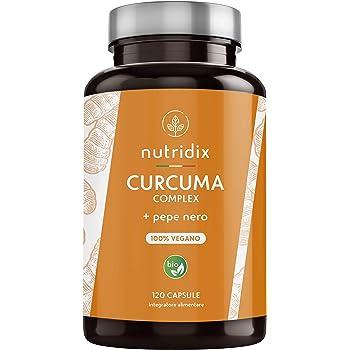 Curcuma Bio 1300mg Dose con Pepe Nero e Zenzero - Potente Antiossidante e Antinfiammatorio con Curcumina e Piperina 100% Vegetale - 120 Capsule Nutridix